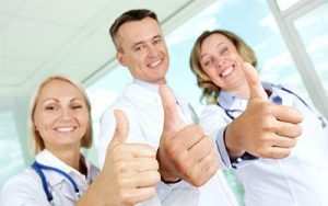 healthcare staff thumbs up